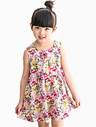 Girl's Blue / Red / Yellow Dress,Floral Cotton Summer