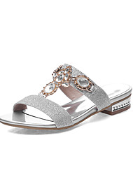 Women's Shoes Low Heel Round Toe Sandals Dress / Casual Silver / Gold