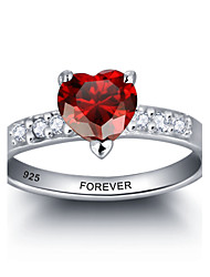 Personalized Red Heart 925 Sterling Silver CZ Stone Wedding Ring For Women