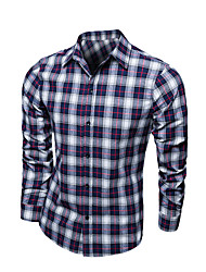 Shirts Classic (Semi-Spread) Long Sleeve Cotton Gingham Blue