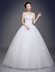 Ball Gown Strapless Floor Length Satin Tulle Wedding Dress with Appliques by JUEXIU Bridal