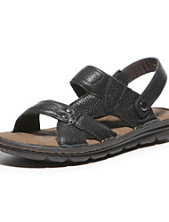Aokang Men's Leather Sandals Black