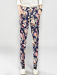Women's Floral Blue / Black Harem Pants,Casual / Day / Simple Elastic Waist Fashion Loose Thin Polyester/Spandex