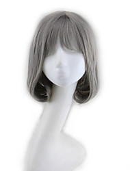 New Fashion Wig Grandma Grey BOBO Head Straight Hair Wigs