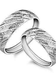 2pcs Sterling Silver Ring Shining Couple Rings Adjustable Fashion Jewelry for Couple Wedding Engagement Ring