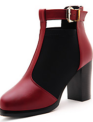 Women's Shoes Synthetic Chunky Heel Heels Heels Wedding / Office & Career / Party & Evening / Dress Black / Red