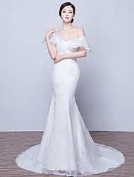 Trumpet/Mermaid Wedding Dress-Ivory Court Train Off-the-shoulder Lace / Satin