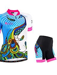 NUCKILY® Camisa com Shorts para Ciclismo Mulheres Manga Curta Moto Respirável / Tiras Refletoras / Bolso Traseiro / Tapete 3DCamisa +