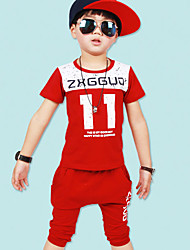 Boy's Cotton Summer Letter And Number Pattern Two-piece Suit