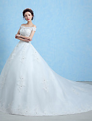 A-line Wedding Dress-White Cathedral Train Off-the-shoulder Lace / Tulle