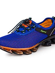 Masculino-Tênis-Conforto-Rasteiro-Azul / Azul Real-Couro Ecológico-Ar-Livre