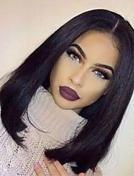 естественного волосяного покрова девственной человеческих волос шелковистые прямые стиль боб бесклеевой парик шнурка