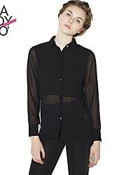 Haoduoyi Mujer Escote Chino Manga Larga Camisa y blusa Negro-142248601