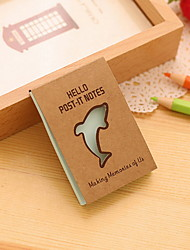 Kraft Paper Dolphin Pattern Self-Stick Note(1 PCS Random Color)
