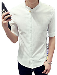 Summer men linen white short sleeved shirt sleeve lining seven slim pure Korean dress shirt sleeve leisure half tide