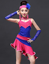 Latin Dance Dresses Children's Performance Lace / Viscose Lace 6 Pieces Dress / Neckwear / Headpieces / Shorts / GlovesDress length