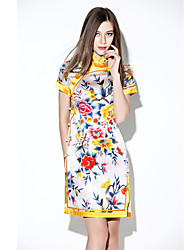Boutique S Women's Simple Floral Bodycon Dress,Stand Mini Polyester