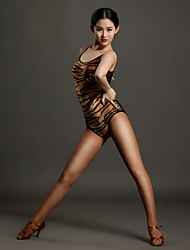 High-quality Spandex with Animal Print Latin Dance Leotards for Women's Performance