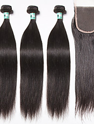 Brazilian Virgin Hair Straight Hair Weft with Closure 3 Bundles Unprocessed Human Hair Weave with 1Pc Lace Closure