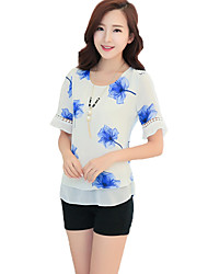 Women's Print Blue / Red / Green Blouse,Round Neck Short Sleeve