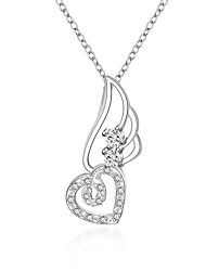 Fine Jewelry 925 Sterling Silver Jewelry Heart with Wing Pendant Necklace for Women