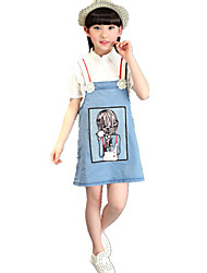Girl's Cartoon Print Denim Strap Dress
