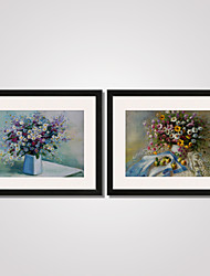 Framed Colorful Bellis Perennis  Canvas Print Art Set of 2 for Home Decoration Ready To Hang