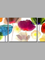 Handmade Oil Painting Modern Flower Set of 3 Home Decor Wall Art Canvas With Stretched Frame