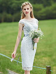 Knee-length Lace Bridesmaid Dress - Sheath / Column Bateau with Sash / Ribbon