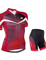 NUCKILY® Maillot et Cuissard de Cyclisme Femme Manches courtes Vélo Respirable / Bandes Réfléchissantes / Pocket RetourManchettes /