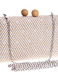 L.west Women Personality Geometric Pattern Woven Evening Bag