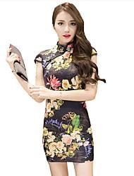 Mulheres Bandagem Vestido,Casual / Tamanhos Grandes Vintage Floral Colarinho Chinês Mini Sem Manga Colorido Poliéster Verão