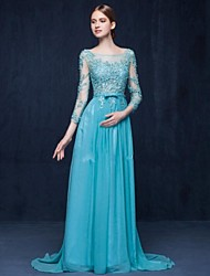 Sheath / Column Scoop Neck Brush Train Chiffon Evening Dress with Beading
