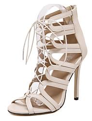 Chaussures Femme-Habillé / Décontracté / Soirée & Evénement-Noir / Amande-Talon Aiguille-Talons / Bout Ouvert-Sandales / Talons-Microfibre