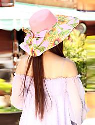 Women Straw Flowers Decorative Border Beach Floppy Hat,Cute / Party / Casual Spring / Summer / Fall