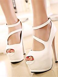 Calçados Femininos-Saltos-Saltos / Peep Toe-Salto Agulha-Preto / Branco-Courino-Festas & Noite