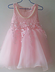 Girl's Pink / White Dress,Lace Cotton / Polyester Summer / Spring
