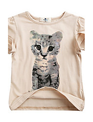 Girl's Beige Tee Cotton Summer