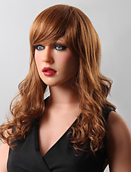 Stylish Long Shaggy Wavy Human Virgin Remy Hand Tied-Top Capless Woman's Hair Wig