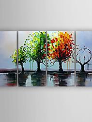 Ручная роспись Пейзаж / Абстрактные пейзажиModern 4 панели Холст Hang-роспись маслом For Украшение дома