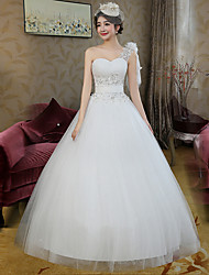 Ball Gown Wedding Dress-White Floor-length One Shoulder Lace / Satin / Tulle