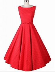 Women's Going out / Party/Cocktail Simple A Line / Skater Dress,Jacquard Round Neck Knee-length Sleeveless Red / White Cotton / Others