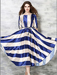 Women's Party/Cocktail A Line Dress,Striped Round Neck Maxi Short Sleeve Blue Polyester All Seasons