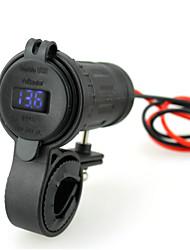 iztor chargeur étanche téléphone voiture double USB allume-4.2a et voltmètre bleu 12v avec fil de 60 cm