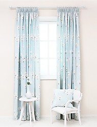 Two Panels Designer Floral Pattern Living Room Poly Cotton Blend Panel Curtains Drapes