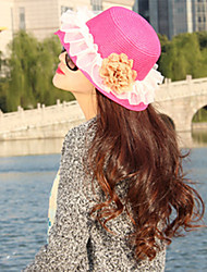 Women Straw  Flowers Fedora Hat,Cute / Party / Casual Spring / Summer / Fall