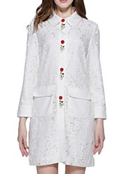 Women's Solid White Coat,Plus Size Long Sleeve Polyester