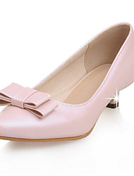 Women's Shoes Leatherette Kitten Heel Pointed Toe Heels Wedding / Party & Evening / Dress / Casual Pink / White