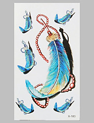 Fashion Tattoo Blue Feather Waterproof Tattoo Stickers