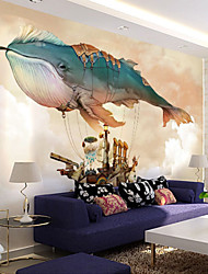 Shinny Leather Effect Large Mural Wallpaper Cartoon Whale Art Wall Decor Wall Paper
